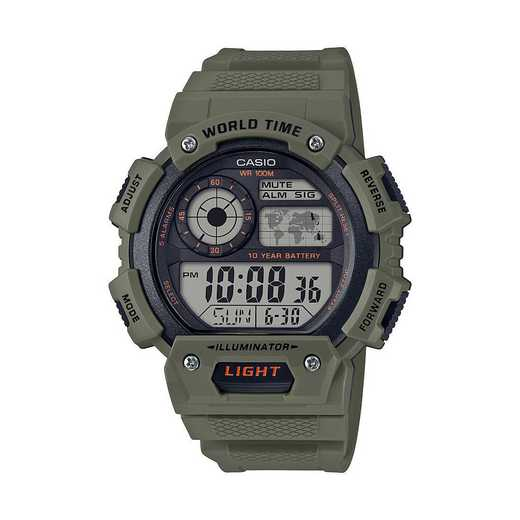AE-1400WH-3AVCF: Casio Watches - Men's Classic Strap Watch - Green