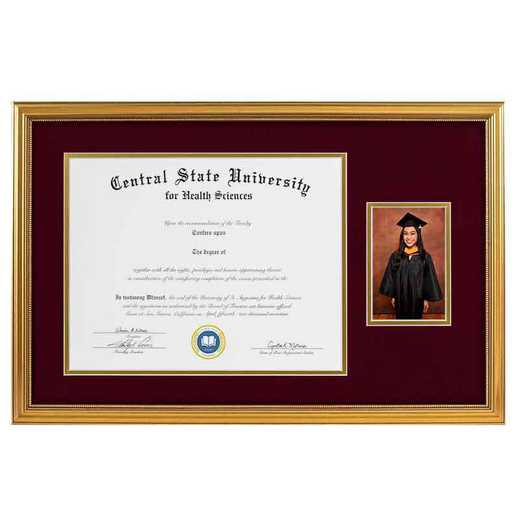 Heritage Frames 11x14 Standard Gold Wood Diploma Frame with 4x6 Photo Display
