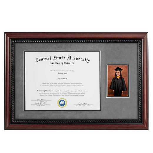 Heritage Frames 11x14 Premium Cherry Wood Diploma Frame with Rope Border and 4x6 Photo Display