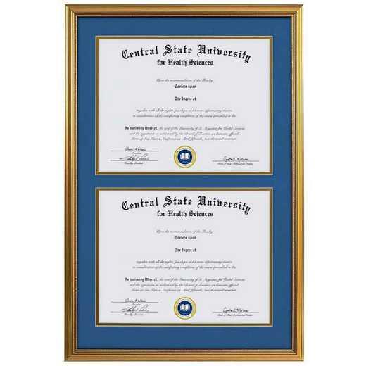 Heritage Frames Standard Gold Wood Double Diploma Frame