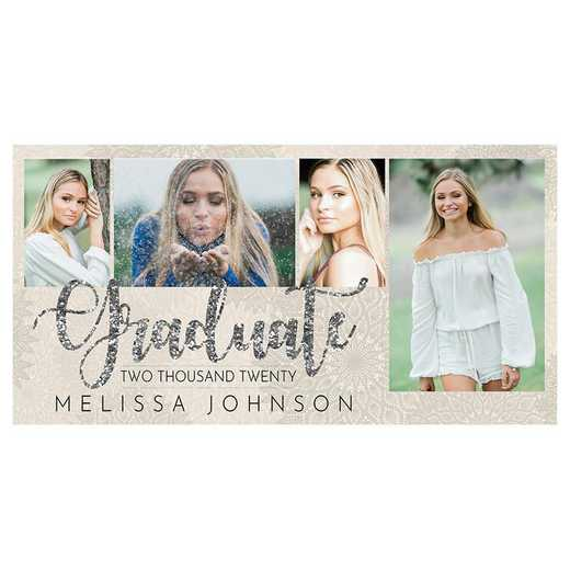 Glitzy Silver 8 x 4 Graduation Photo Announcement