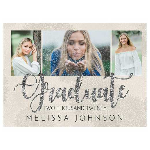 Glitzy Silver 5 x 7 Graduation Photo Announcement