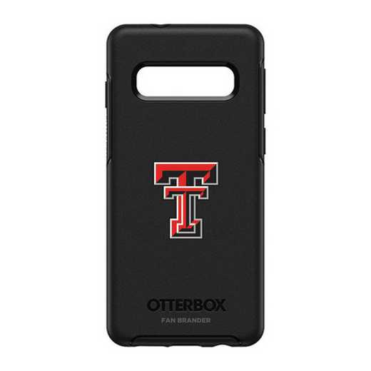 GAL-S10-BK-SYM-TT-D101: BL Texas Tech Red Raiders OtterBox Galaxy S10 Symmetry