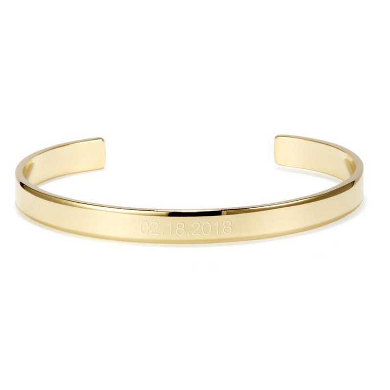 BYB1054G: Thin and engraved gold plated SS date cuff bracelet