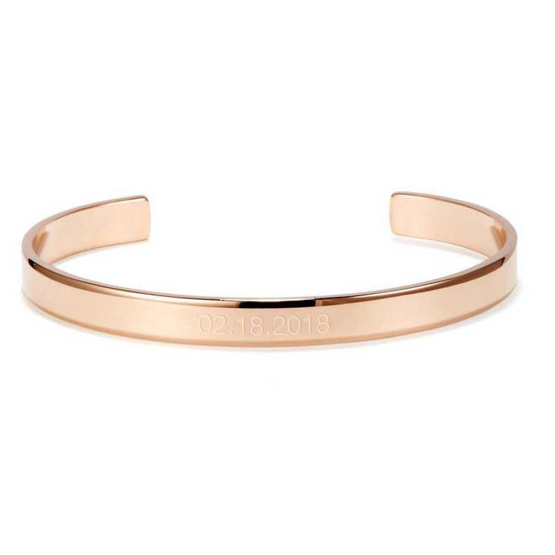 BYB1054R: Thin and engraved rose-gold plated SS date cuff bracelet