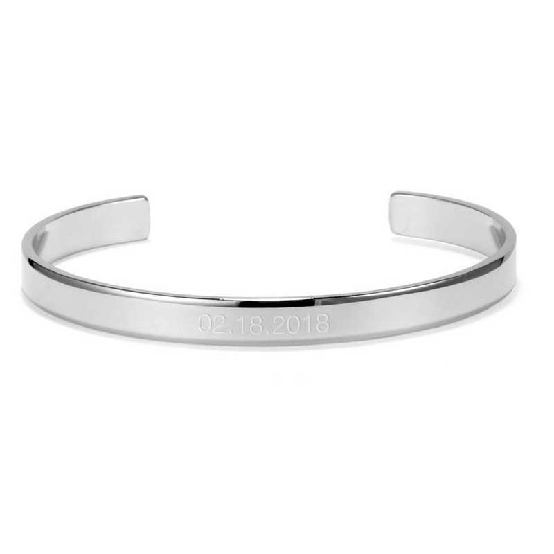 BYB1054S: Thin and engraved SS date cuff bracelet