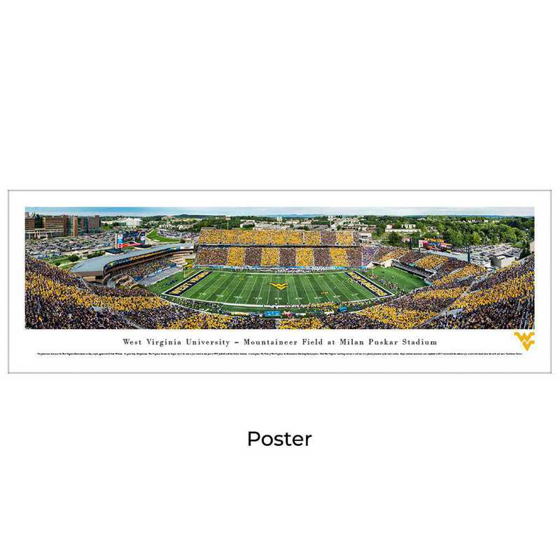 WVU7: West Virginia Mountaineers Football #7 - Stripe - Unframed
