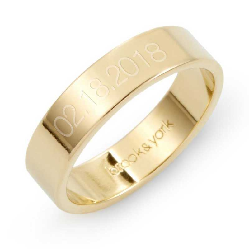 Personalized Aria Date Gold plated Silver Fine Ring by Brook and York