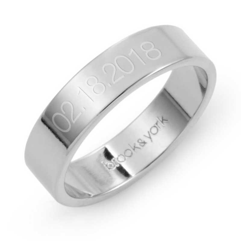 Personalized Aria Date Sterling Silver Fine Ring by Brook and York