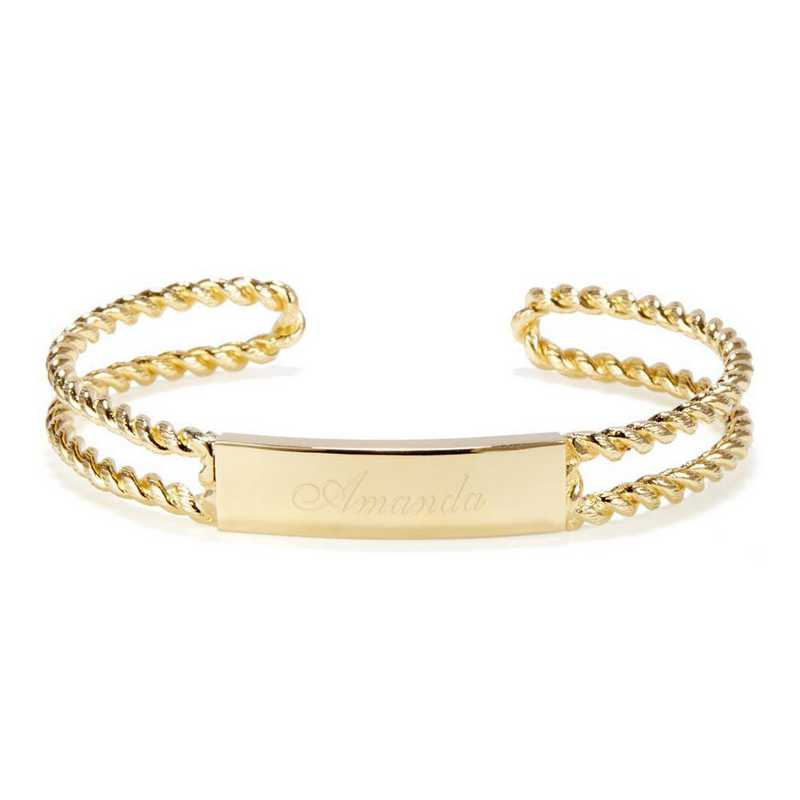 BYB1003G: ID Plate rope style cuff bracelet. 14K plated brass.