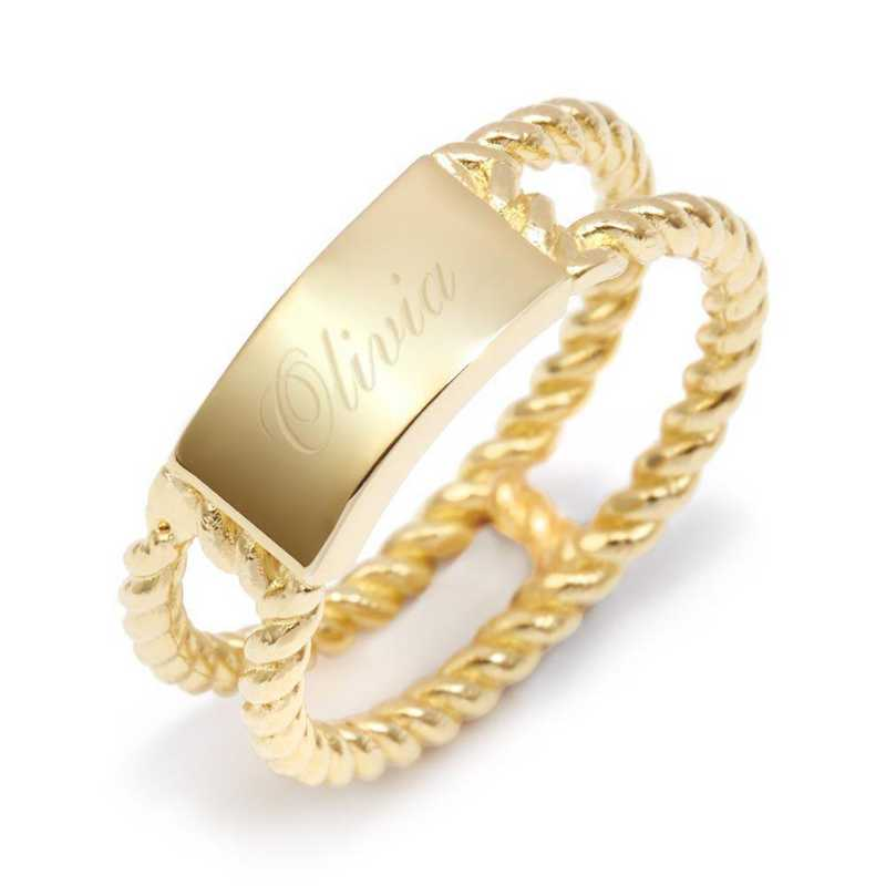 Personalized Avery Gold-tone Rope Ring by Brook and York