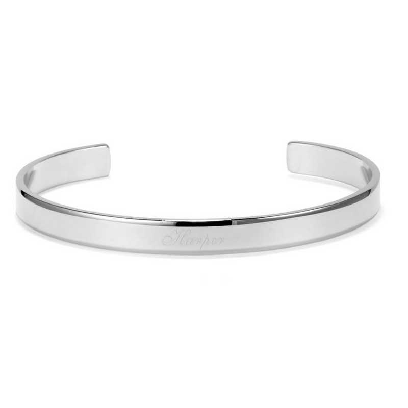 BYB1018S: Rhodium plated thin stackable cuff bracelet.