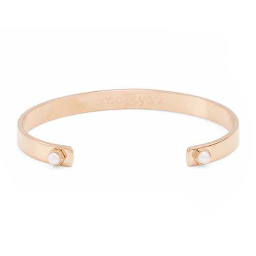 BYB1049R: Rose-gold plated cuff style 4mm pearl bracelet.