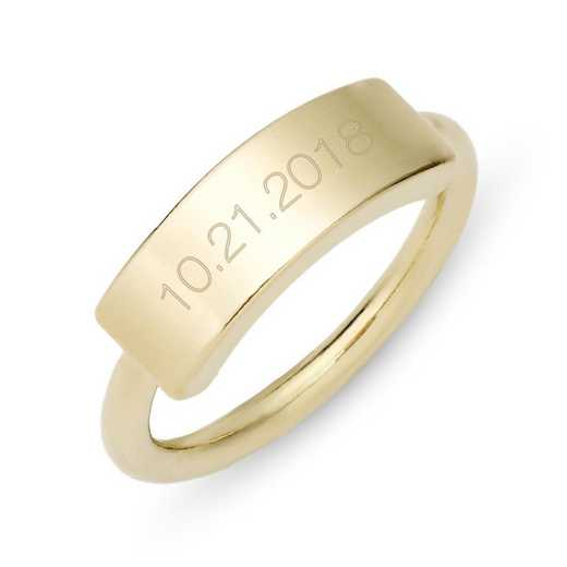 Personalized Kira Date Gold-tone Bar Ring by Brook and York