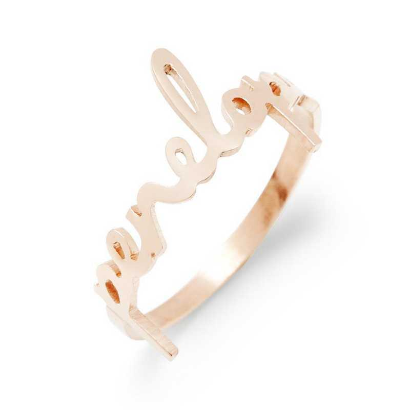 Personalized Nella Rose Gold plated Silver Nameplate Ring by Brook and York