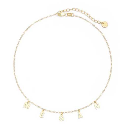 BYN1106G: Sofia Spaced Name Choker Necklace