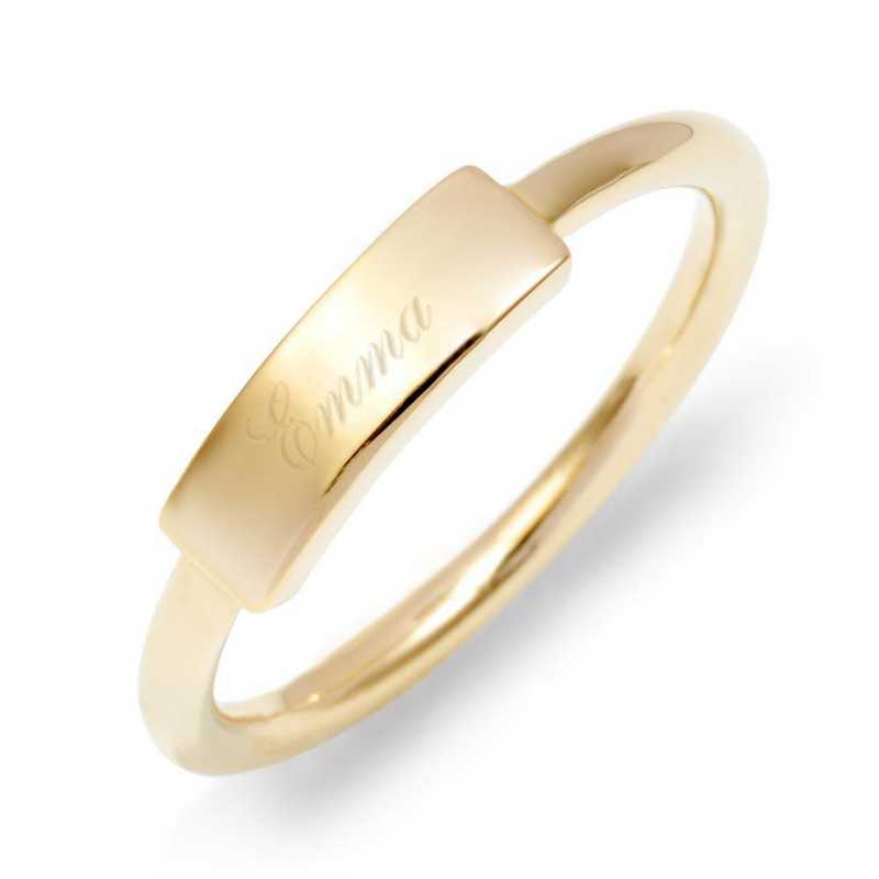 Personalized Thin Gold-tone Bar Ring by Brook and York