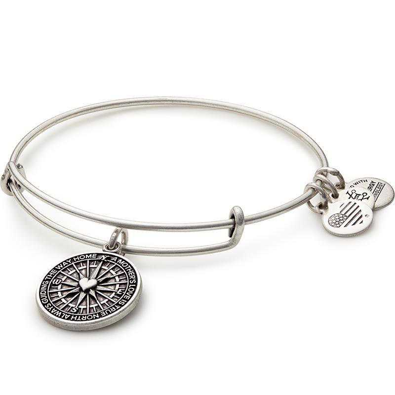 A16EB79RS: Alex and Ani True Direction Chrm Bngle Rafaelian Slvr Finish
