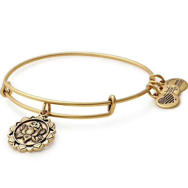 A17EBLPPRG: Alex and Ani Lotus Peace Petals Charm Bangle