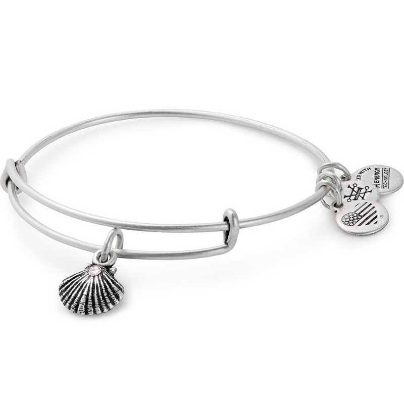 A17EBSEASRS: Alex and Ani Sea Shell Charm Bangle -Rafaelian Silver Finish