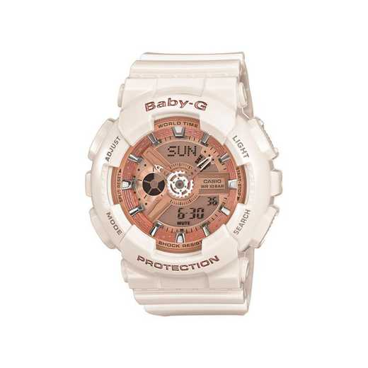 BA110-7A1: Women's Baby-G Watch - White/Rose Gold