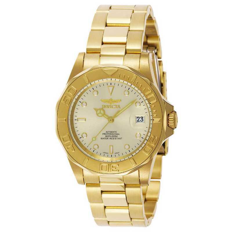 INV-9010: Invicta Men's Pro Diver Auto 3 Hand Champagne Dial Watch