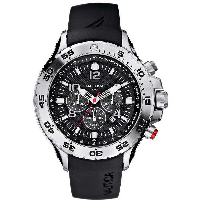 N14536G: Nautica Watches Men's NST Stainless Steel and Black Resin Watch