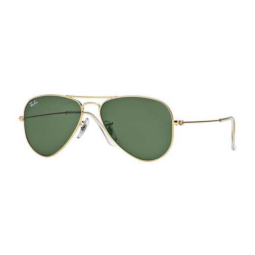 0RB3044L020752: Ray-Ban Aviator Sunglasses - Gold/GRN
