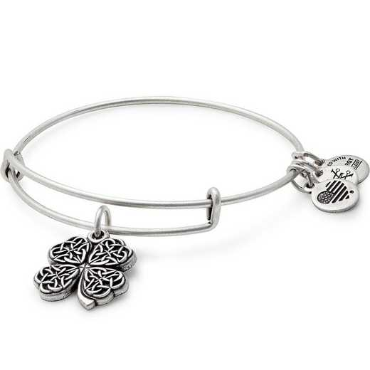 A17EB28RS: Four Leaf Clover Charm Bangle - Rafaelian Silver Finish