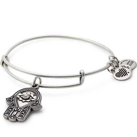 A17EB27RS: Hand of Fatima Charm Bangle - Rafaelian Silver Finish