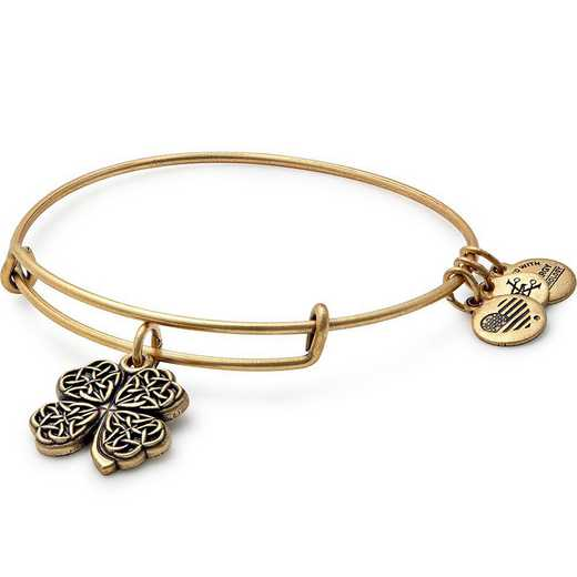 A17EB28RG: Four Leaf Clover Charm Bangle - Rafaelian Gold Finish