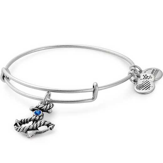A17EB72RS: Anchor Charm Bangle - Rafaelian Silver Finish