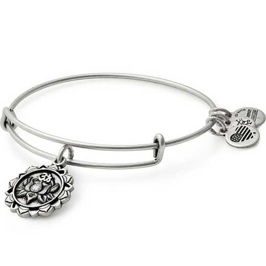 A17EBLPPRS: Lotus Peace Petals Charm Bangle - Rafaelian Silver Finish