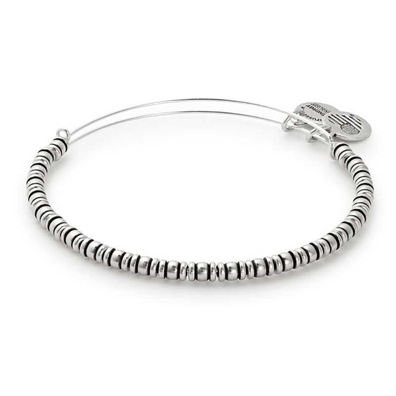 A17EBROCRS: Rocker Beaded Bangle - Rafaelian Silver Finish
