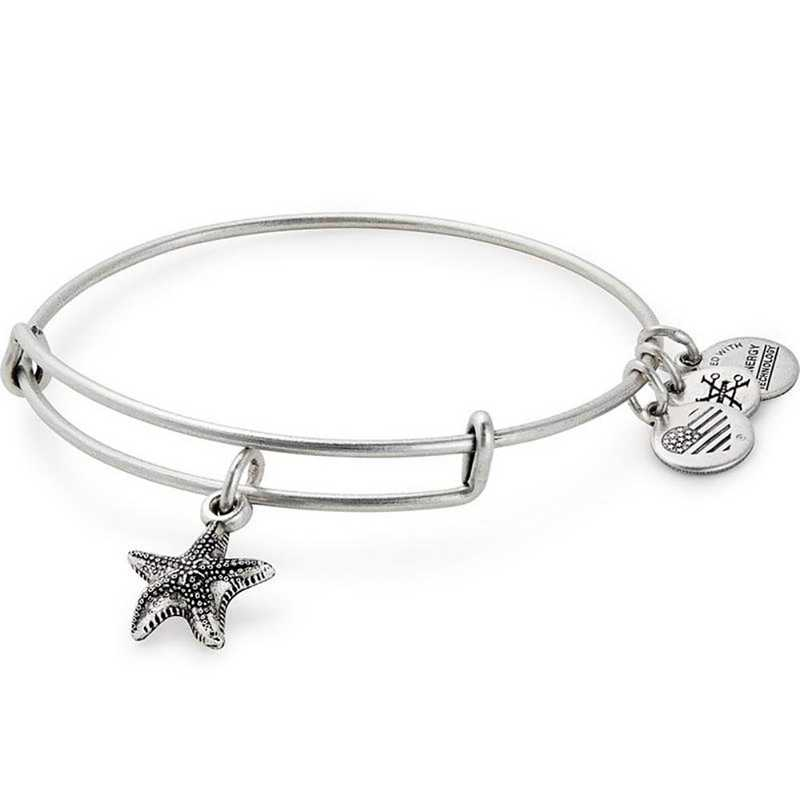 A17EBSTRFRS: Starfish Charm Bangle - Rafaelian Silver Finish