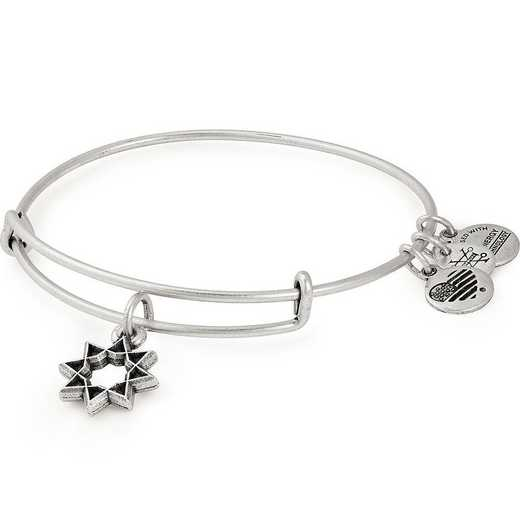 A18HOL10RS: Eight Pointed Star Charm Bangle - Rafaelian Silver Finish