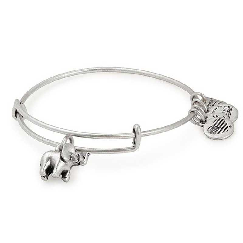 CBD17EFRS: Elephant Charm Bangle - Rafaelian Silver Finish