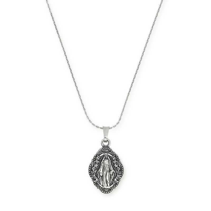 A18HOL07RS: Mother Mary Expandable Necklace - Rafaelian Silver Finish