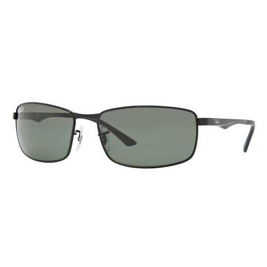 0RB34980029A61: RB3498 Sunglasses - Black/Polarized Green Classic
