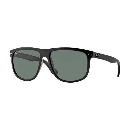 0RB41476015860: Polarized Square Sunglasses - Black/Green