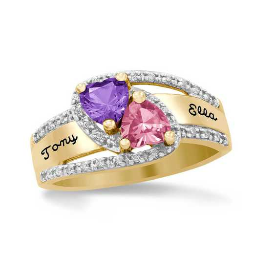 Women's Double-Heart Birthstone Promise Ring - Alila