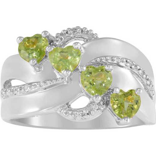 Mother's Ring with Four Heart-Shaped Stones: Aurora