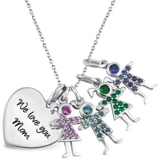 Mother's Heart Pendant with 1-4 Kid Charms - Birthstone Kids Pendant