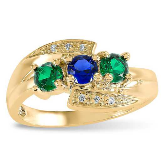ArtCarved Touchstone Three-Stone Birthstone Ring: Camilla