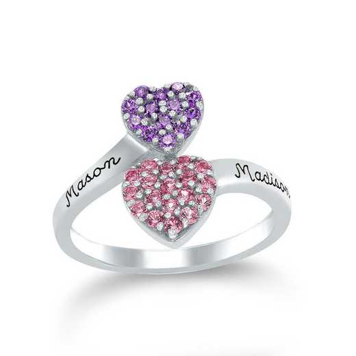 Double Heart Birthstone Ring: Charity