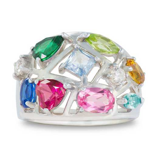 Mother's Multi-Stone Birthstone Fashion Ring: Festive
