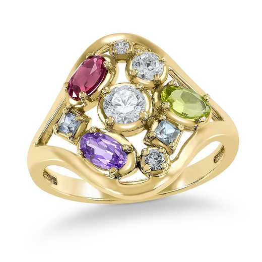 Personalized Multi-Stone Collage Ring- Tulip
