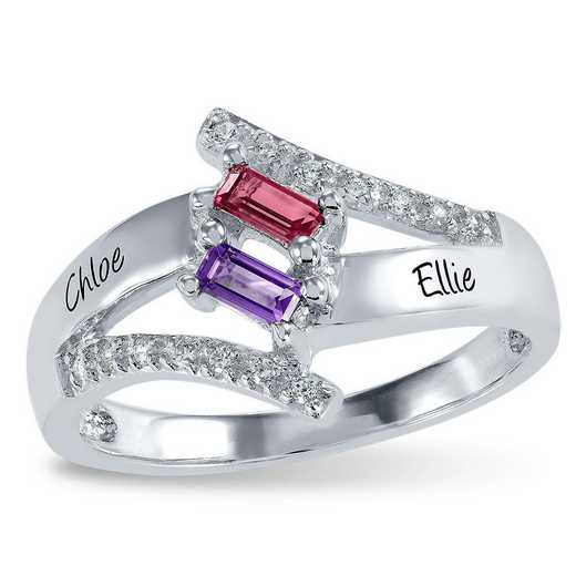 Women's Two-Stone Baguette-Cut Birthstone Ring - Touchstone Zoey