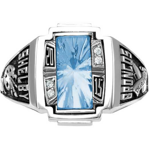 Women's Art Deco Class Ring with Diamond or Cubic Zirconia - Accolade