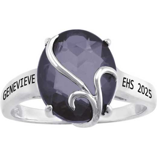 Ladies' Contemporary Class Ring with Birthstone: Afire